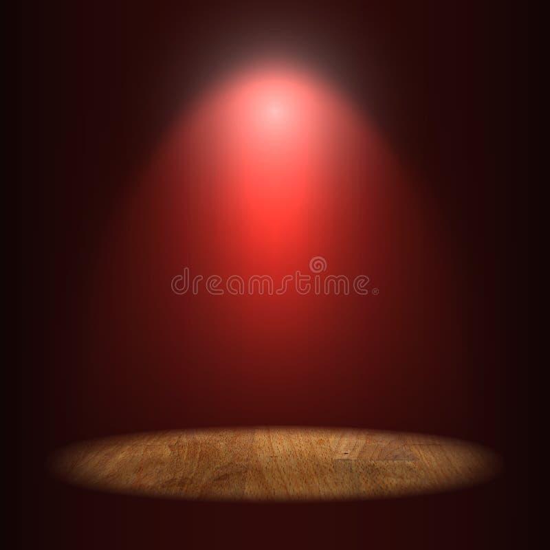 Αναμμένο σημείο σε έναν κενό ξύλινο πίνακα στο σκούρο κόκκινο επίκεντρο τοίχων υποβάθρου, αναμμένα countertops περιοχής, εστίαση  στοκ εικόνες