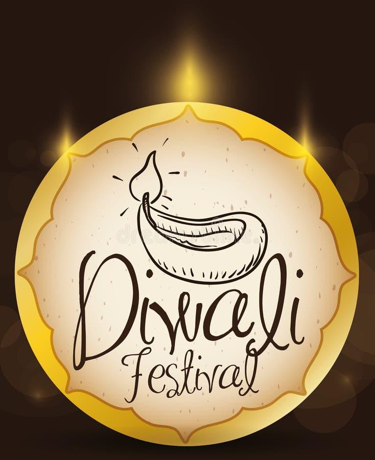 Αναμμένο χρυσό κουμπί με συρμένο χέρι Diya για το φεστιβάλ Diwali απεικόνιση αποθεμάτων