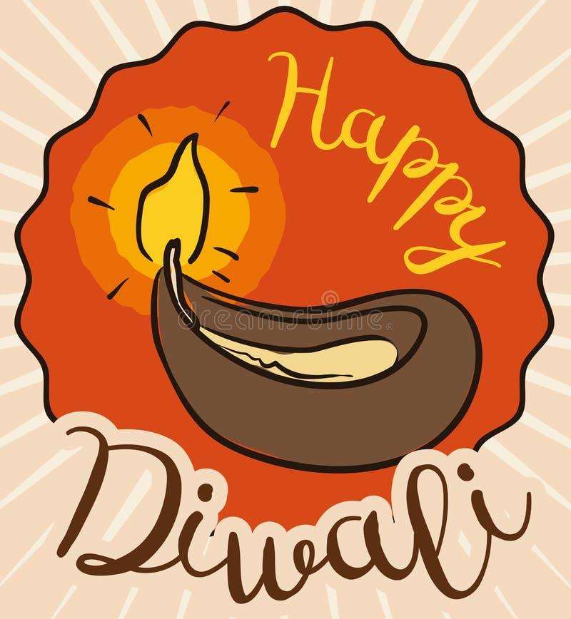 Αναμμένο Diya στο ύφος Doodle πέρα από την ετικέτα για Diwali, διανυσματική απεικόνιση διανυσματική απεικόνιση