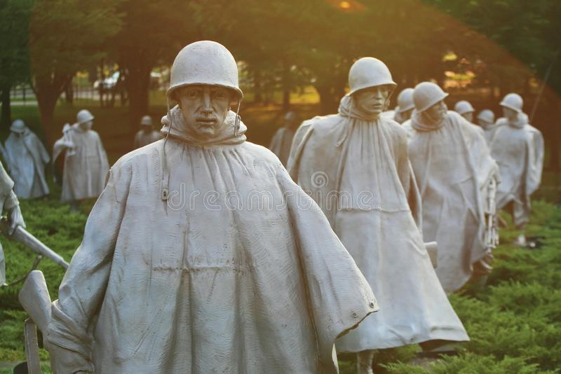 Αναμνηστικά αγάλματα παλαιμάχων Πολέμων της Κορέας, συνεχές ρεύμα στοκ εικόνες με δικαίωμα ελεύθερης χρήσης