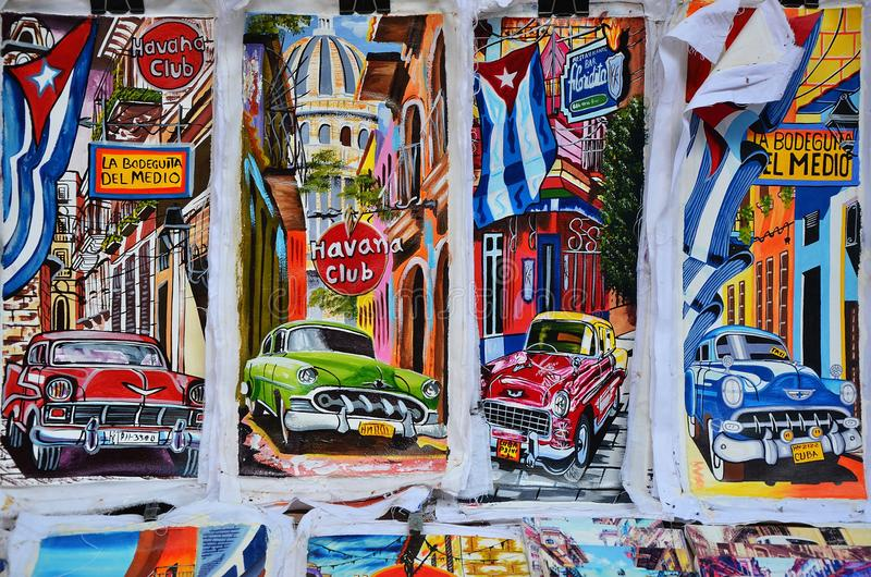 Αναμνηστικά της Κούβας στην τοπική αγορά, ζωγραφική chevrolets στοκ φωτογραφία με δικαίωμα ελεύθερης χρήσης