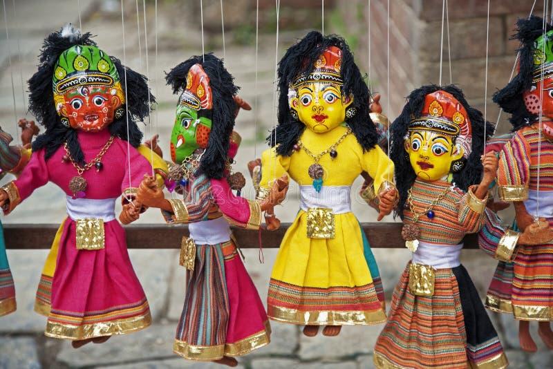 Αναμνηστικά των παραδοσιακών μαριονετών στο Κατμαντού, Νεπάλ στοκ φωτογραφία