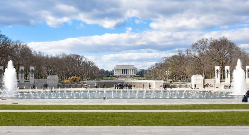 Αναμνηστική, πανοραμική άποψη Δεύτερου Παγκόσμιου Πολέμου Washington DC, ΗΠΑ στοκ φωτογραφία με δικαίωμα ελεύθερης χρήσης