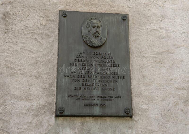 Αναμνηστική πινακίδα, John ΙΙΙ Sobieski, Βιέννη, Αυστρία στοκ φωτογραφίες με δικαίωμα ελεύθερης χρήσης