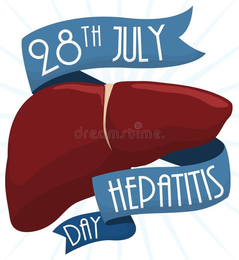 Αναμνηστικό σχέδιο για την ημέρα παγκόσμιας ηπατίτιδας με το συκώτι και τις κορδέλλες, διανυσματική απεικόνιση απεικόνιση αποθεμάτων