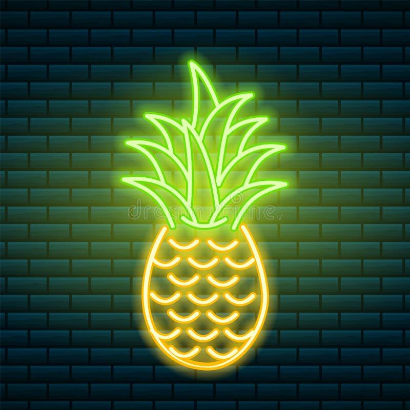 Ανανάς νέου υπογράψτε τροπικό Θερινό φυτό, φύλλα Φωτεινή πινακίδα νύχτας, καμμένος εικονίδιο, ελαφρύ έμβλημα Διάνυσμα Editable απεικόνιση αποθεμάτων