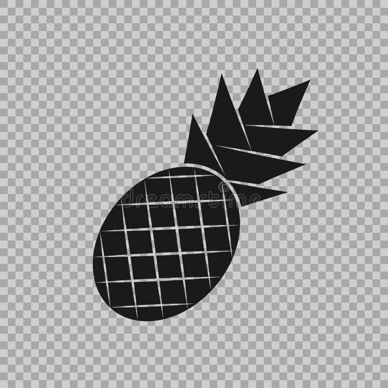Ανανάς σε ένα επίπεδο ύφος με μια επιγραφή Εικονίδιο, ένα σύμβολο των τροπικών φρούτων στο απομονωμένο υπόβαθρο απεικόνιση αποθεμάτων