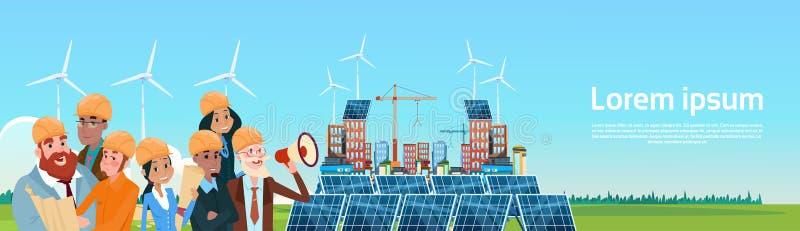 Ανανεώσιμη παρουσίαση σταθμών επιτροπής ηλιακής ενέργειας βημάτων αέρα ομάδας επιχειρηματιών ελεύθερη απεικόνιση δικαιώματος