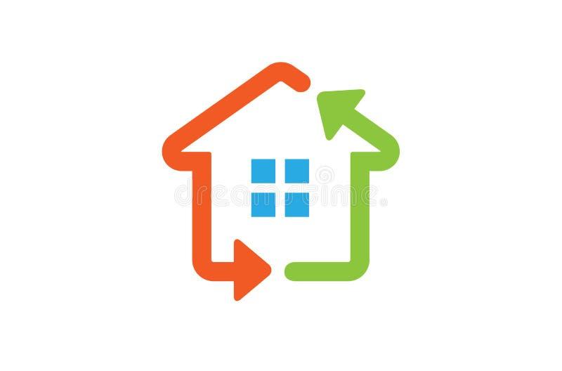 Ανανεώσιμο λογότυπο τεχνολογίας βελών σπιτιών διανυσματική απεικόνιση
