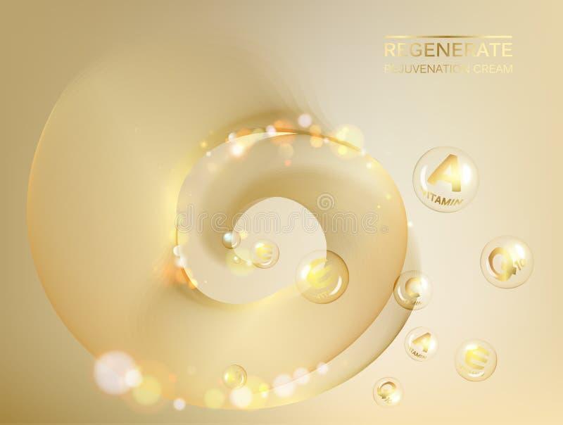 Αναπαράγετε τη σύνθετη έννοια κρέμας και βιταμινών προσώπου Λάμποντας χρυσό σταγονίδιο ουσίας Πτώση βιταμινών Ε με μορφή σφαίρας διανυσματική απεικόνιση