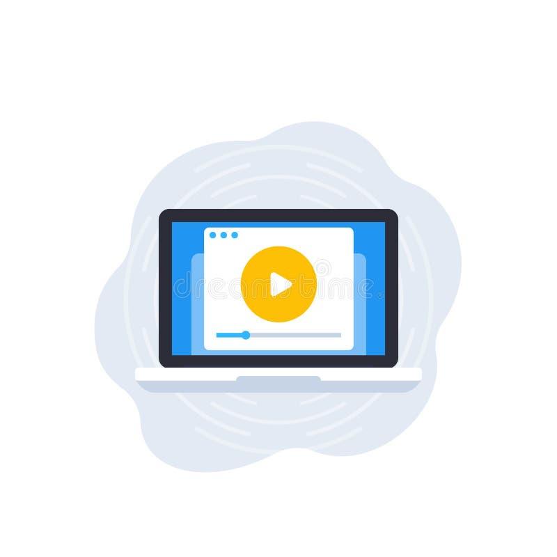 Αναπαραγωγή βίντεο, παίκτης στην οθόνη του εικονιδίου διανυσματικού φορητού υπολογιστή διανυσματική απεικόνιση