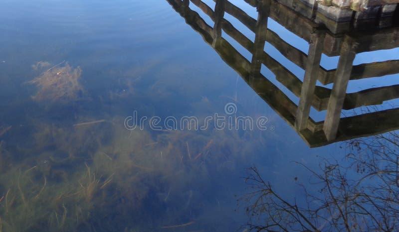 Αναπαυτική αντανάκλαση του μπλε ουρανού και μιας παλαιάς αποβάθρας σε μια ήρεμη λίμνη στοκ φωτογραφία με δικαίωμα ελεύθερης χρήσης