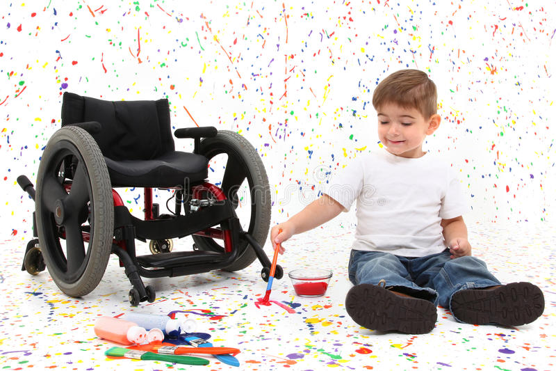 αναπηρική καρέκλα ζωγραφ&io στοκ φωτογραφία