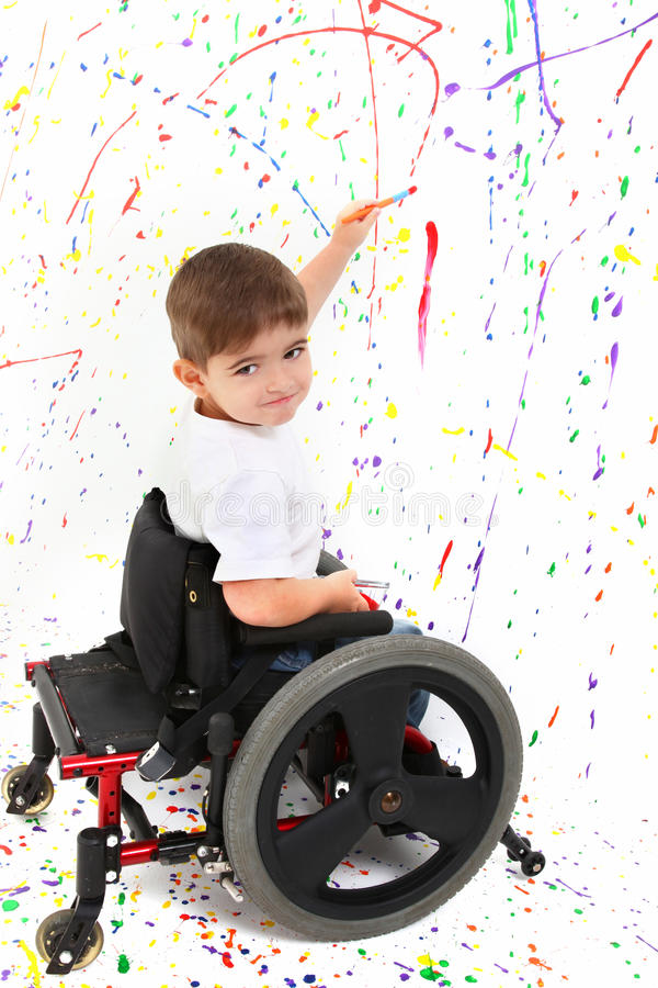 αναπηρική καρέκλα ζωγραφ&io στοκ φωτογραφία με δικαίωμα ελεύθερης χρήσης