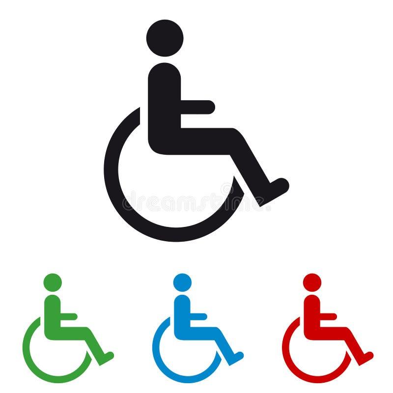 Αναπηρική καρέκλα - ζωηρόχρωμα διανυσματικά εικονίδια - που απομονώνονται στο λευκό απεικόνιση αποθεμάτων