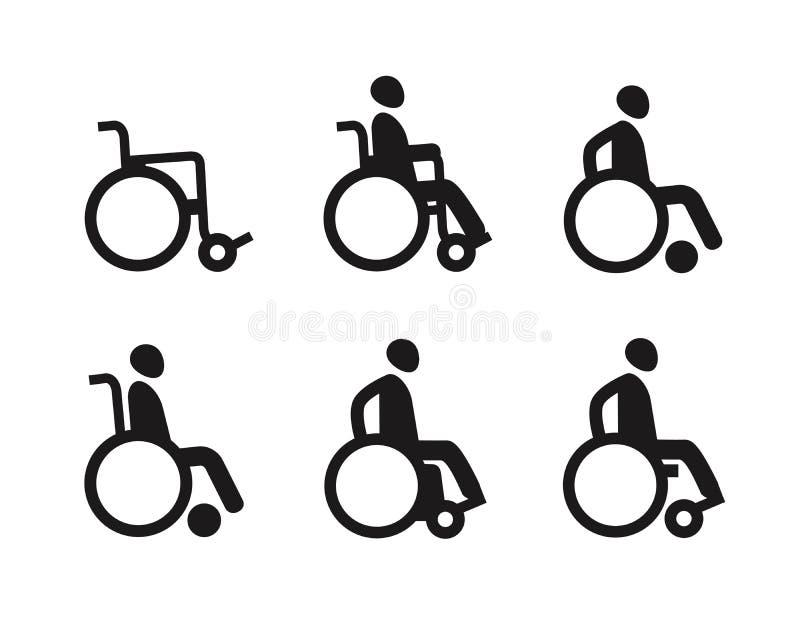 Αναπηρική καρέκλα ή άκυρα άτομα με ειδικές ανάγκες Σύνολο εικονιδίων καθορισμένο διάνυσμα συμβόλων φλογών χρώματος ελεύθερη απεικόνιση δικαιώματος