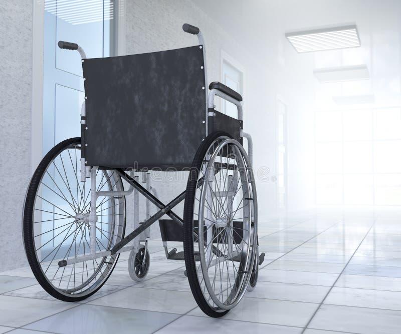 Αναπηρική καρέκλα που σταθμεύουν κενή στην έννοια ελπίδας διαδρόμων νοσοκομείων στοκ φωτογραφίες με δικαίωμα ελεύθερης χρήσης
