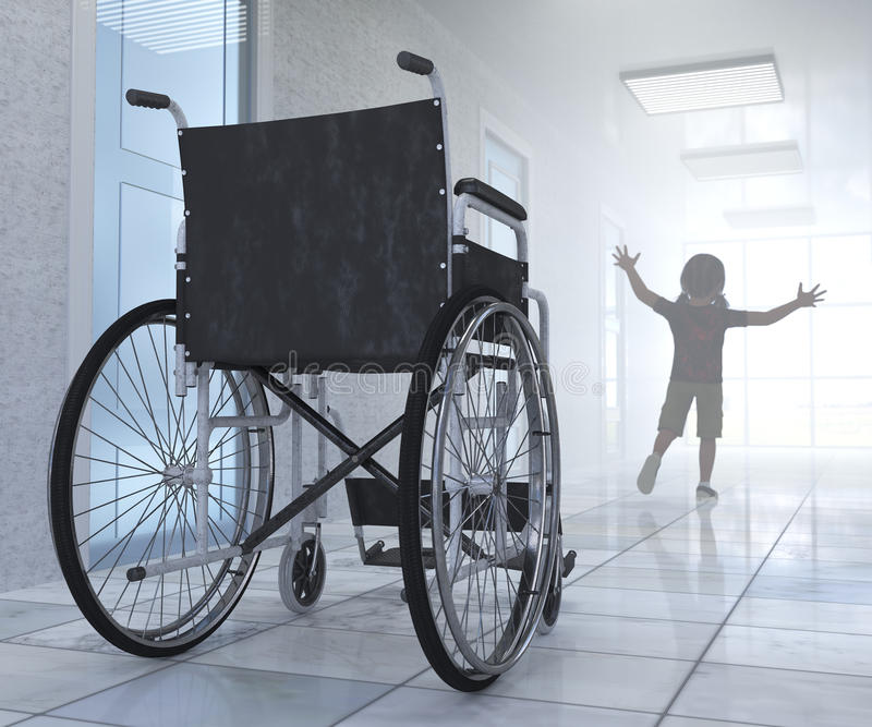 Αναπηρική καρέκλα που σταθμεύουν κενή στο διάδρομο νοσοκομείων με τον αριθμό παιδιών στοκ εικόνες