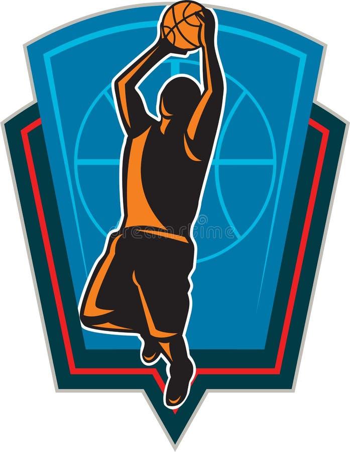 Αναπηδώντας ασπίδα σφαιρών παίχτης μπάσκετ αναδρομική απεικόνιση αποθεμάτων