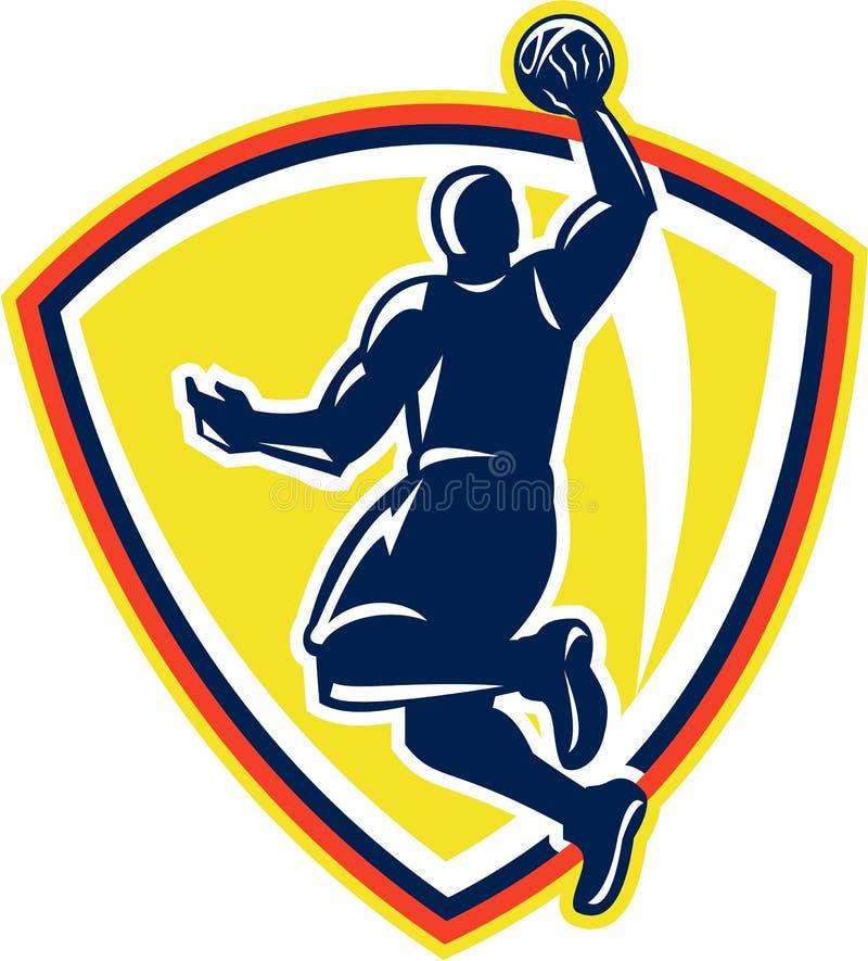 Αναπηδώντας σφαίρα Dunking Basketballer αναδρομική απεικόνιση αποθεμάτων