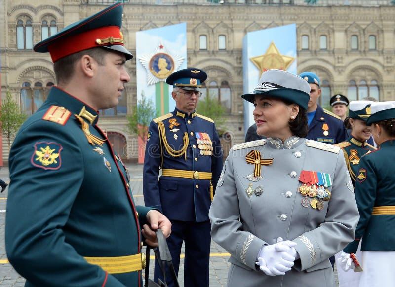 Αναπληρωτής υπουργός της υπεράσπισης της Ρωσικής Ομοσπονδίας Τατιάνα Shevtsova στη στρατιωτική παρέλαση προς τιμή την ημέρα νίκης στοκ φωτογραφίες με δικαίωμα ελεύθερης χρήσης