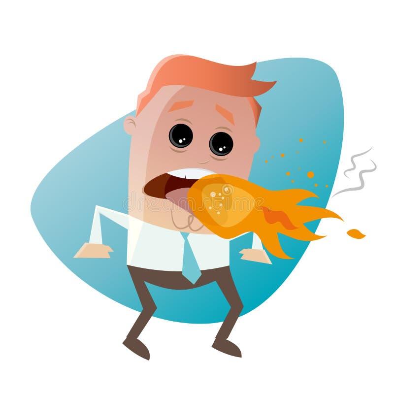 Αναπνέοντας άτομο κινούμενων σχεδίων πυρκαγιάς απεικόνιση αποθεμάτων