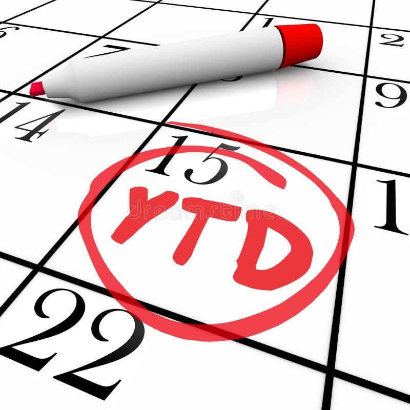 Αναπροσαρμογή ημερολογιακής θέσης συντμήσεων αρκτικολέξων έτους YTD μέχρι σήμερα διανυσματική απεικόνιση