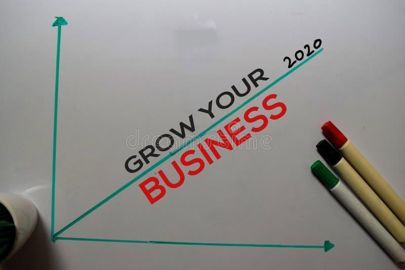Αναπτύξτε την επιχείρησή σας: 2020, γράψτε στο λευκό φόντο Έννοια γραφήματος ή μηχανισμού στοκ εικόνα με δικαίωμα ελεύθερης χρήσης