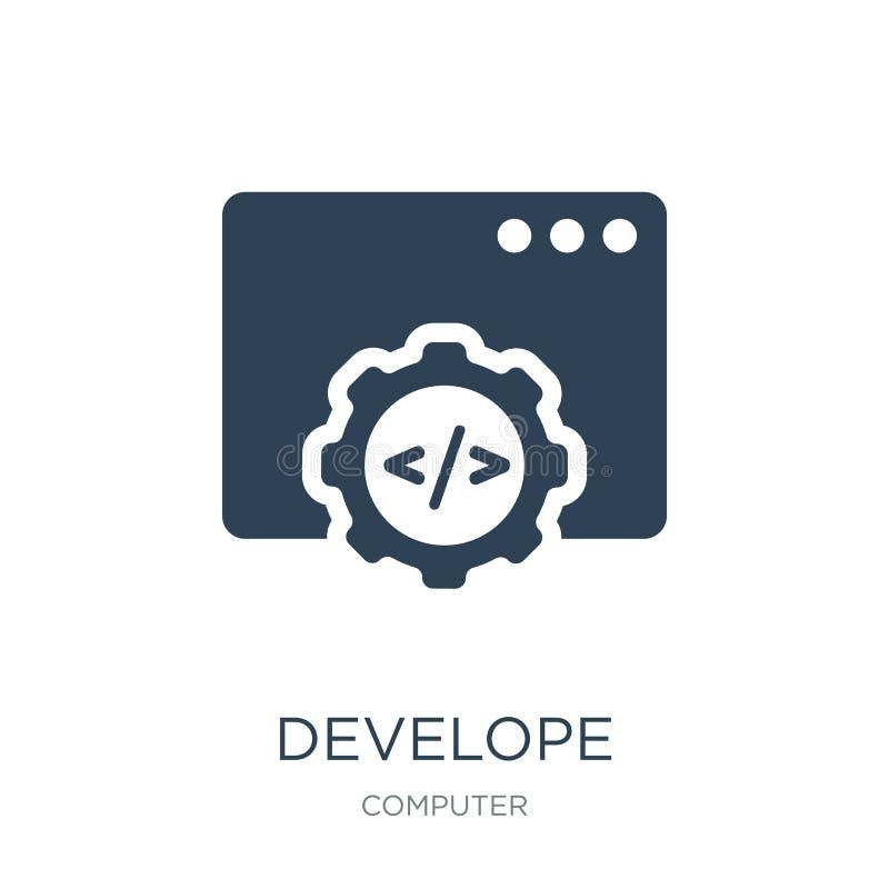 αναπτύξτε το εικονίδιο στο καθιερώνον τη μόδα ύφος σχεδίου αναπτύξτε το εικονίδιο που απομονώνεται στο άσπρο υπόβαθρο αναπτύξτε τ ελεύθερη απεικόνιση δικαιώματος