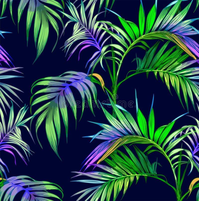 ανασκόπησης άνευ ραφής καλοκαίρι νύχτας σχεδίου floral σας Φοίνικες στη νύχτα διανυσματική απεικόνιση