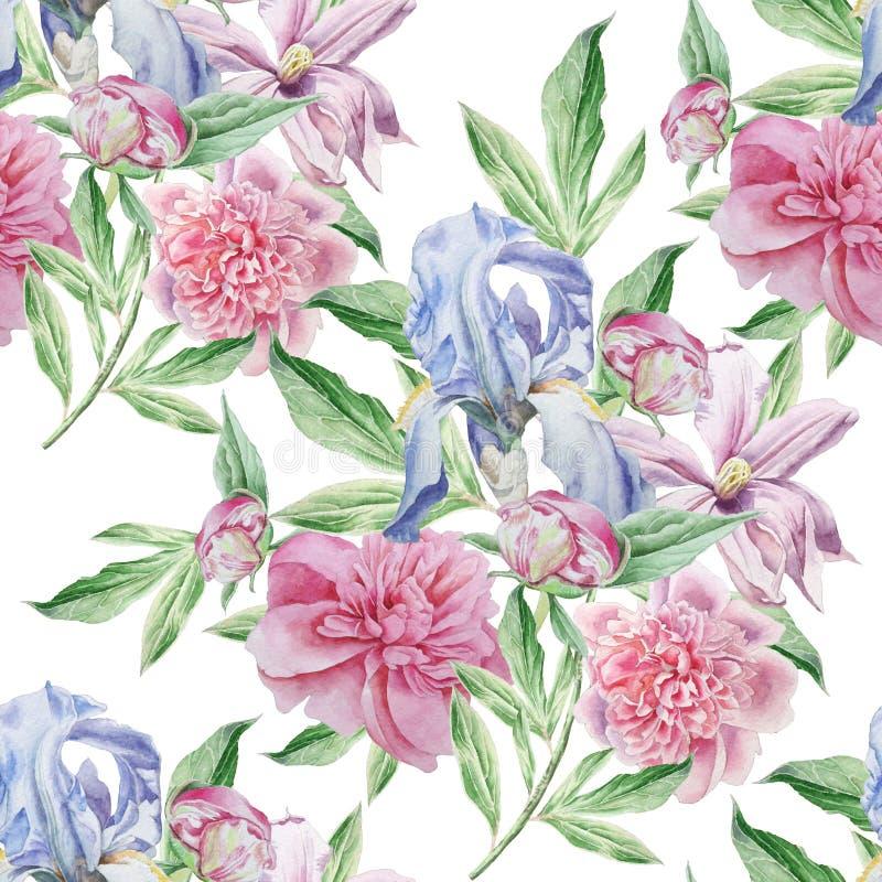 ανασκόπησης ατελείωτο λουλουδιών κεραμίδι άνοιξη προτύπων άνευ ραφής ίριδα Peony clematis watercolor διανυσματική απεικόνιση
