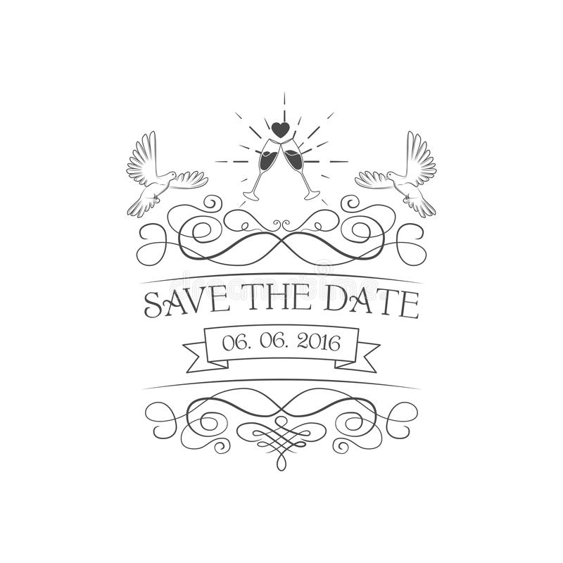 ανασκόπησης κομψότητας καρδιών θερμός γάμος συμβόλων πρόσκλησης ρομαντικός η ημερομηνία σώζει Περιστέρι, διανυσματική απεικόνιση  διανυσματική απεικόνιση