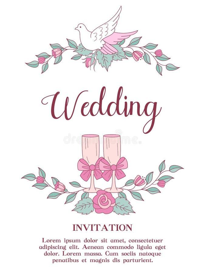 ανασκόπησης κομψότητας καρδιών θερμός γάμος συμβόλων πρόσκλησης ρομαντικός Όμορφη γαμήλια κάρτα με τα στεφάνια delic διανυσματική απεικόνιση