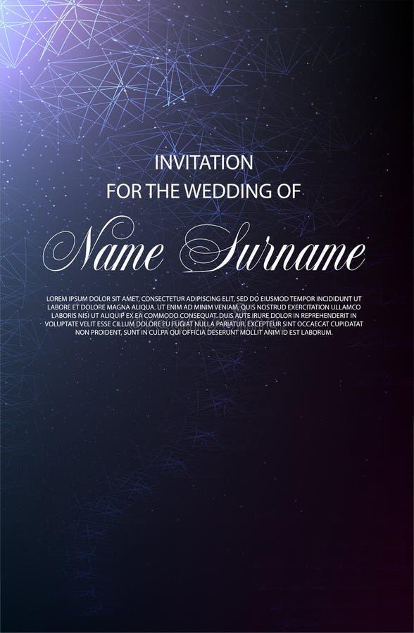 ανασκόπησης κομψότητας καρδιών θερμός γάμος συμβόλων πρόσκλησης ρομαντικός Σχέδιο σε λίγο φως αστεριών διανυσματική απεικόνιση