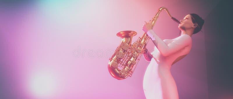 ανασκόπησης μπλε νεολαίες γυναικών saxophone καπνώείς ελεύθερη απεικόνιση δικαιώματος