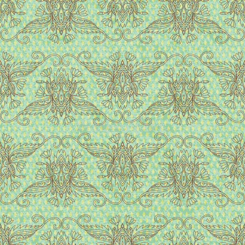 ανασκόπησης ξηρός floral βρώμικος λεκιασμένος φυτό τρύγος εγγράφου φύλλων παλαιός Άνευ ραφής χέρι drawnpattern ελεύθερη απεικόνιση δικαιώματος
