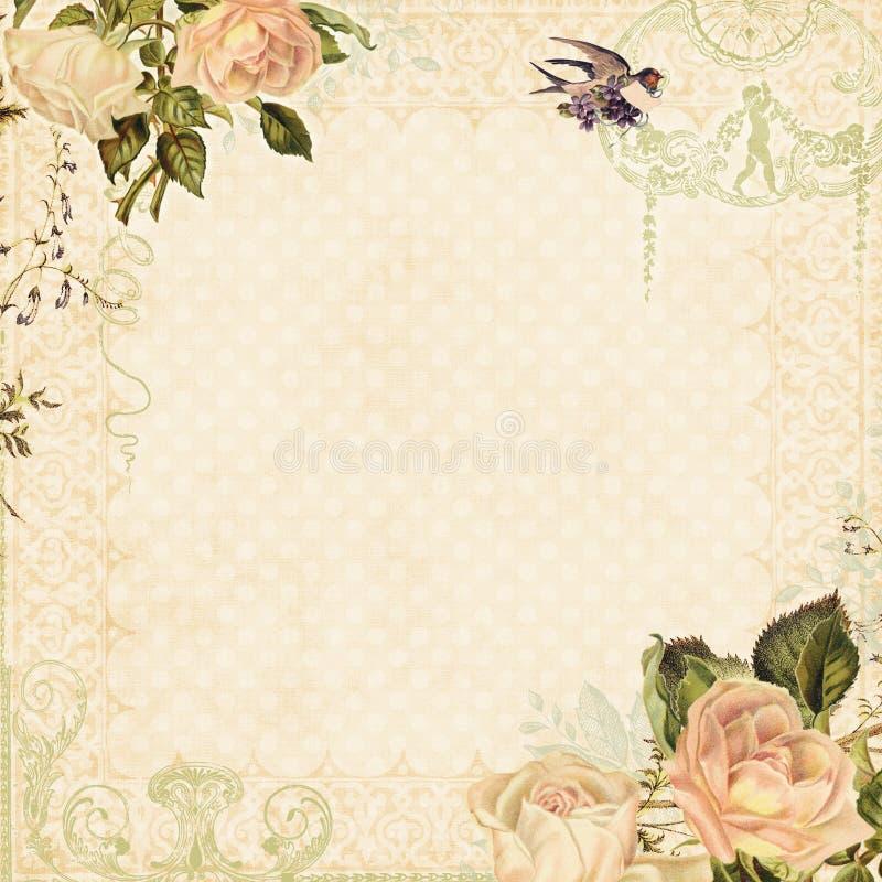ανασκόπησης ξηρός floral βρώμικος λεκιασμένος φυτό τρύγος εγγράφου φύλλων παλαιός ελεύθερη απεικόνιση δικαιώματος