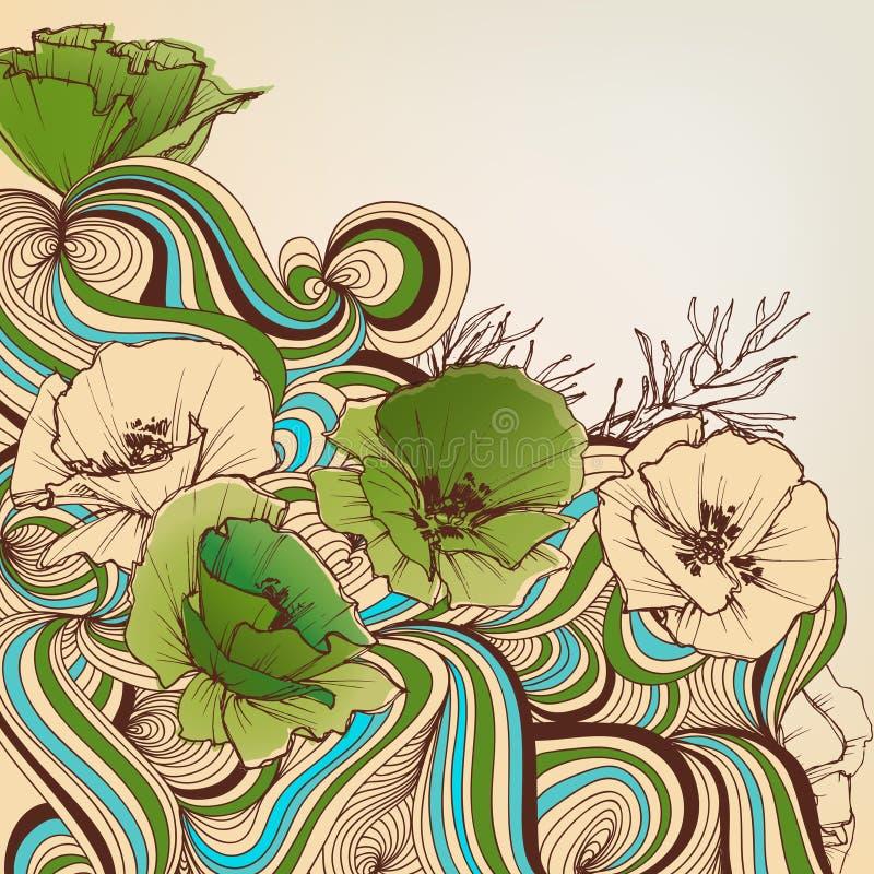 ανασκόπησης ξηρός floral βρώμικος λεκιασμένος φυτό τρύγος εγγράφου φύλλων παλαιός διανυσματική απεικόνιση