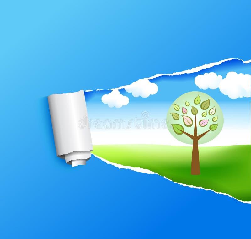 Ανασκόπηση άνοιξη με ένα δέντρο ελεύθερη απεικόνιση δικαιώματος