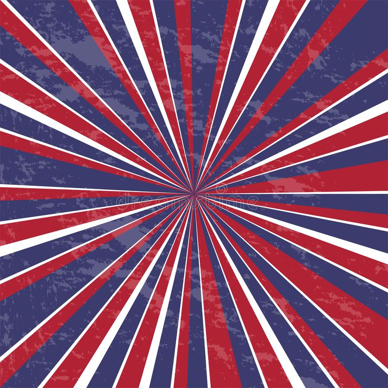Ανασκόπηση ακτίνων Αμερικανικά χρώματα με το grunge - διάνυσμα διανυσματική απεικόνιση