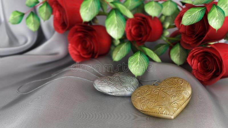 ανασκόπηση διακοπών και γάμου με τα τριαντάφυλλα στοκ φωτογραφίες