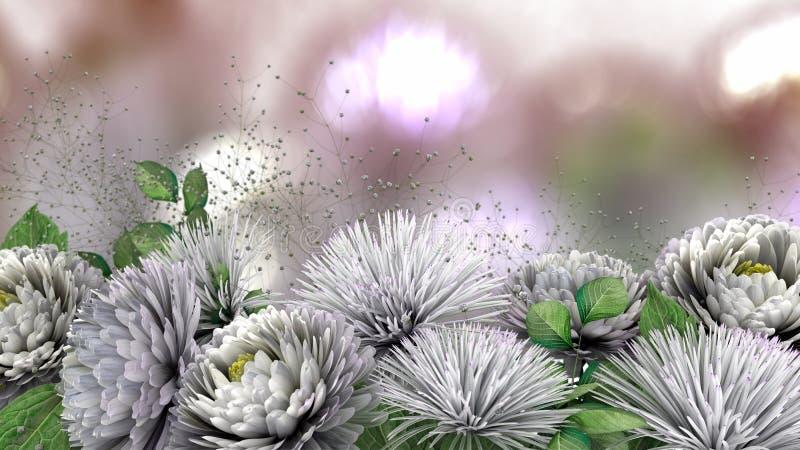 ανασκόπηση διακοπών με το χρυσάνθεμο λουλουδιών στοκ εικόνες