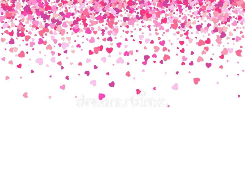 Ανασκόπηση ημέρας βαλεντίνων Πτώση πετάλων καρδιών κομφετί Καρδιά ελεύθερη απεικόνιση δικαιώματος