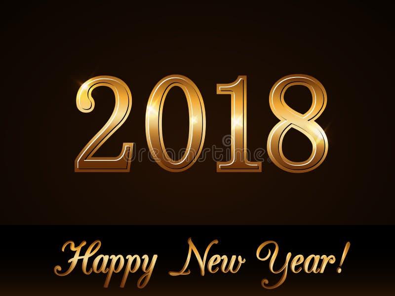 ανασκόπηση καλή χρονιά Χρυσή κάρτα αριθμών 2018 Σχέδιο Χριστουγέννων με το φως, σπινθήρισμα Σύμβολο των διακοπών, εορτασμός ελεύθερη απεικόνιση δικαιώματος