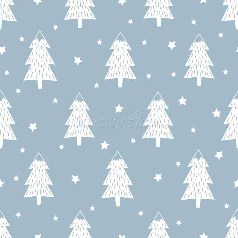 ανασκόπηση καλή χρονιά Απλό άνευ ραφής αναδρομικό σχέδιο Χριστουγέννων διανυσματική απεικόνιση