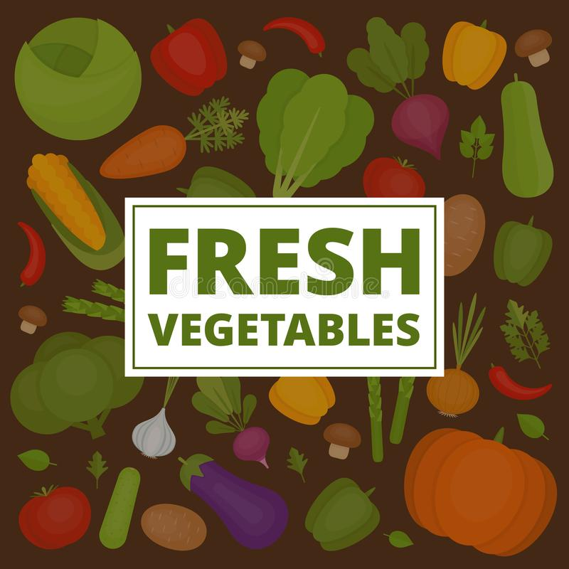 Ανασκόπηση λαχανικών Σχέδιο φρέσκων λαχανικών Οργανικός και hea απεικόνιση αποθεμάτων