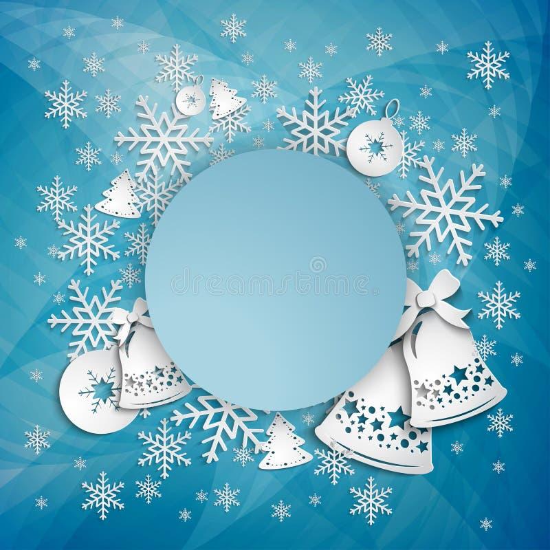 Ανασκόπηση με τα κουδούνια Χριστουγέννων, το τόξο και snowflakes, απεικόνιση απεικόνιση αποθεμάτων