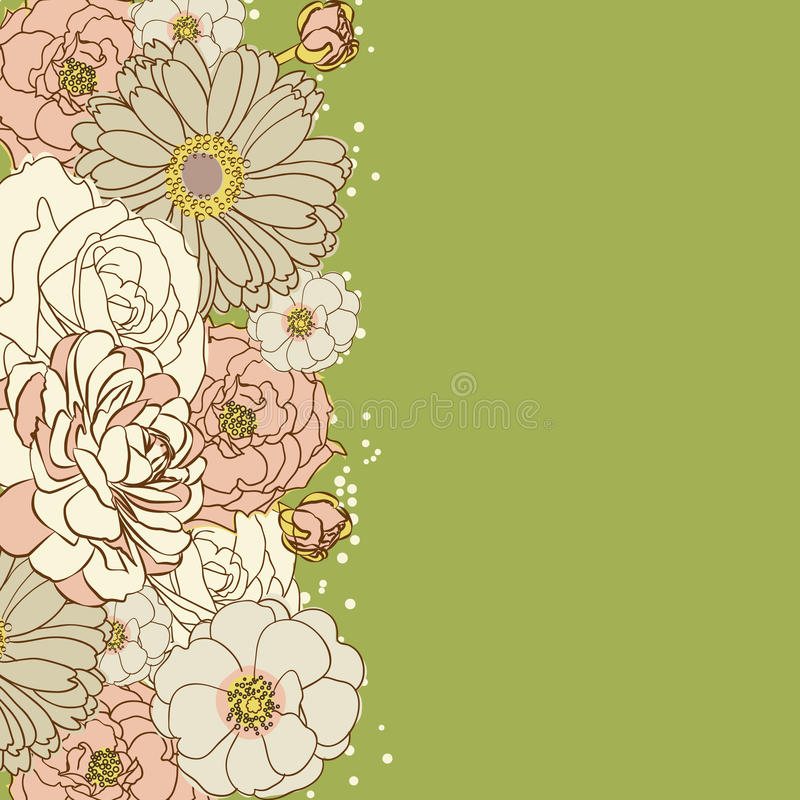 Ανασκόπηση με τα λουλούδια ελεύθερη απεικόνιση δικαιώματος