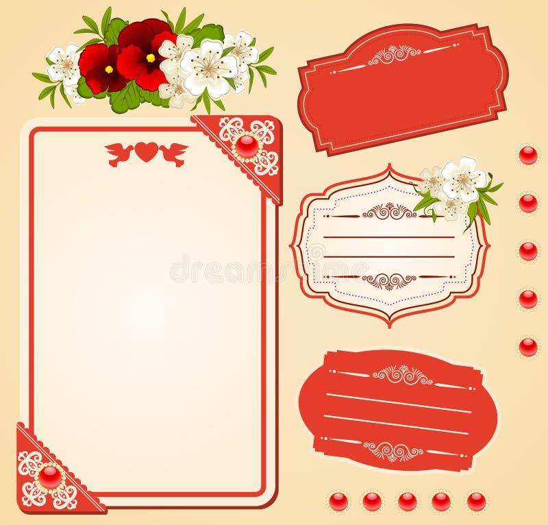 Ανασκόπηση με τις διακοσμήσεις και τα λουλούδια δαντελλών. διανυσματική απεικόνιση