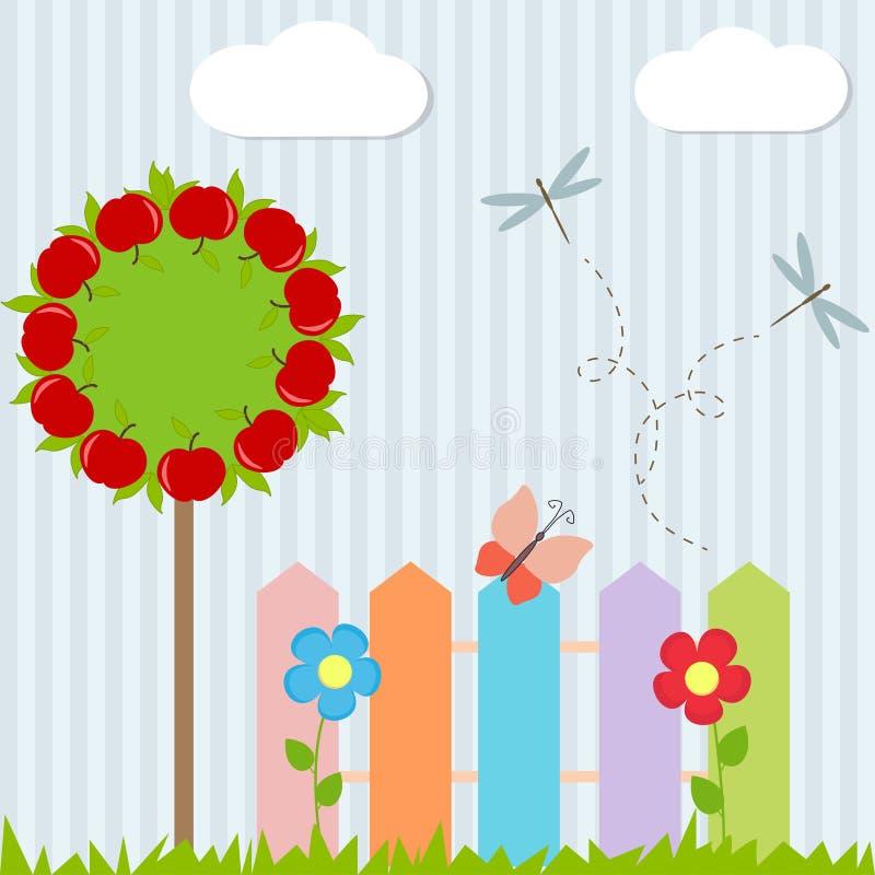 Ανασκόπηση με το δέντρο, φραγή, πεταλούδα απεικόνιση αποθεμάτων